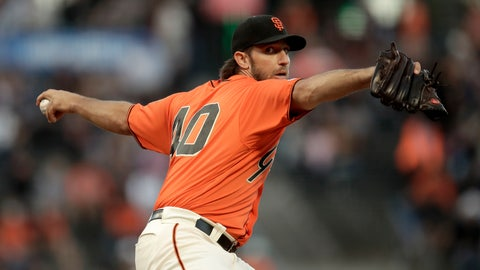<p>               San Francisco Giants pitcher Madison Bumgarner works against the San Diego Padres during the first inning of a baseball game Friday, Aug. 30, 2019, in San Francisco. (AP Photo/Ben Margot)             </p>