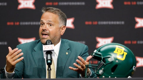 <p>               FILE - In this July 6, 2019, file photo, Baylor head coach Matt Rhule speaks during Big 12 Conference NCAA college football media day in Arlington, Texas. Rhule knows all about the Big 12 schedule that is ahead for Baylor, including those big home games against the league's Top 25 teams Iowa State, Oklahoma and Texas that will certainly get everybody excited. What Rhule wants going into his third season is for his Bears to focus on themselves and the immediate task ahead of them. They play FCS team Stephen F. Austin in their season opener Saturday night. (AP Photo/David Kent, File)             </p>