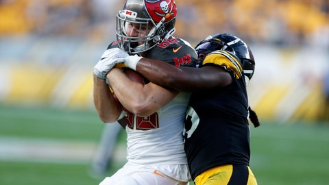 <p>               Pittsburgh Steelers linebacker Devin Bush, right, tackles Tampa Bay Buccaneers tight end Tanner Hudson during the first half of an NFL preseason football game in Pittsburgh, Friday, Aug. 9, 2019. (AP Photo/Keith Srakocic)             </p>