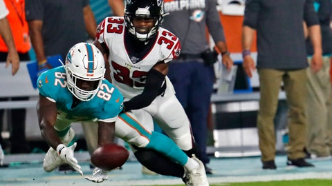 <p>               Miami Dolphins wide receiver Preston Williams (82) makes a catch in front of Atlanta Falcons cornerback Blidi Wreh-Wilson (33) during the first half of a preseason NFL football game Thursday, Aug. 8, 2019, in Miami Gardens, Fla. (AP Photo/Brynn Anderson)             </p>