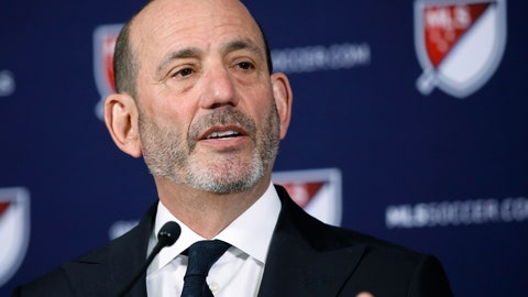 <p>               FILE - In this April 18, 2019 file photo Major League Soccer Commissioner Don Garber speaks at a news conference in Los Angeles. Garber's 20th anniversary as Major League Soccer's commissioner is Sunday, Aug. 4, 2019 and the league's challenge these days is growth and not survival, an upward trajectory that will be boosted when the U.S. co-hosts the World Cup in 2026. MLS has doubled in size to 24 teams under Garber's leadership, plays primarily in soccer specific stadiums and maintains an average attendance among the top 10 soccer leagues in the world. (AP Photo/Alex Gallardo, file)             </p>