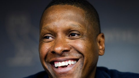 <p>               FILE - In this June 25, 2019, file photo, Toronto Raptors team president Masai Ujiri speaks to the media during an NBA basketball press conference in Toronto. Ujiri has barely paused since the Raptors won the NBA championship in June.  Much of his time has been devoted to Giants of Africa, his passion project since 2003. The tour added Somalia and South Sudan to the schedule this summer, two countries still staggering from civil wars. (Nathan Denette/The Canadian Press via AP, File)             </p>