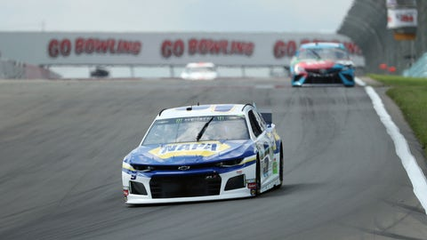 <p>               Chase Elliott (9) heads into turn one during a practice run for the NASCAR Cup Series auto race at Watkins Glen International, Saturday, Aug. 3, 2019, in Watkins Glen, New York. (AP Photo/John Munson)             </p>