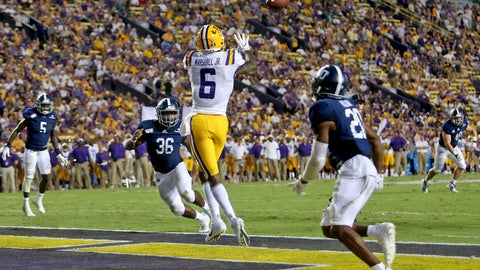 <p>               LSU wide receiver Terrace Marshall Jr. (6) catches a 3-yard touchdown against Georgia Southern in the second quarter of an NCAA college football game in Baton Rouge, La., Saturday, Aug. 31, 2019. (AP Photo/Michael Democker)             </p>