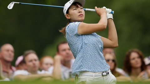 <p>               Japan's Hinako Shibuno hits a shot during the AIG Women's British Open golf championship at Woburn Gold Club near near Milton Keynes, England, Saturday, Aug. 3, 2019. (AP Photo/Tim Ireland)             </p>