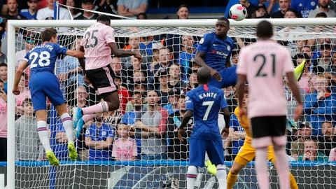 <p>               Leicester's Wilfred Ndidi, 2nd left, scores his side's first goal during the English Premier League soccer match between Chelsea and Leicester City at Stamford Bridge stadium in London, Sunday, Aug. 18, 2019. (AP Photo/Frank Augstein)             </p>
