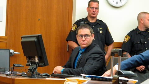 <p>               Former Ohio State diving club coach William Bohonyi, left, sits in court during his sentencing Monday, Aug. 12, 2019, in Columbus, Ohio. Bohonyi was accused of having sex with a teenage diver he coached and was sentenced to four years in prison after pleading guilty to sexual battery. (AP Photo/Kantele Franko)             </p>