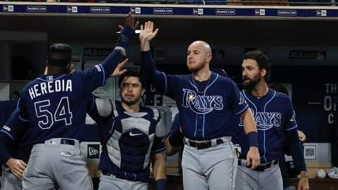 <p>               Tampa Bay Rays' Guillermo Heredia (54) is greeted by teammates after scoring off a fly ball by Jesus Aguilar during the seventh inning of a baseball game against the San Diego Padres Monday, Aug. 12, 2019, in San Diego. (AP Photo/Gregory Bull)             </p>