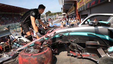 <p>               Pit crew inspect the damaged car of Mercedes driver Lewis Hamilton of Britain after Hamilton hit a barrier during the third practice session ahead of the Belgian Formula One at Spa-Francorchamps, Belgium, Saturday, Aug. 31, 2019. The Belgian Formula One race will take place on Sunday. (AP Photo/Francisco Seco)             </p>