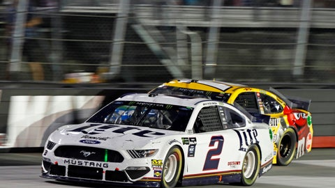 <p>               Brad Keselowski (2) passes Kyle Busch during a NASCAR Cup Series auto race Saturday, Aug. 17, 2019, in Bristol, Tenn. (AP Photo/Wade Payne)             </p>