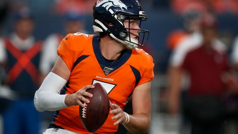 <p>               Denver Broncos quarterback Drew Lock (3) looks to pass against the San Francisco 49ers during the second half of an NFL preseason football game, Monday, Aug. 19, 2019, in Denver. (AP Photo/David Zalubowski)             </p>