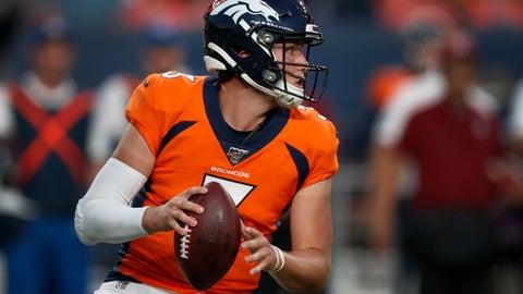 <p>               Denver Broncos quarterback Drew Lock (3) looks to pass against the San Francisco 49ers during the second half of an NFL preseason football game, Monday, Aug. 19, 2019, in Denver. (AP Photo/David Zalubowski)             </p>