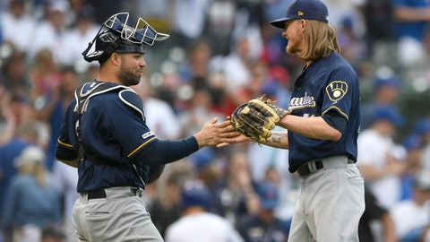 <p>               Milwaukee Brewers closing pitcher Josh Hader right, celebrates with catcher Manny Pina left, after defeating the Chicago Cubs 2-0 in a baseball game Saturday, Aug 31, 2019, in Chicago. (AP Photo/Paul Beaty)             </p>