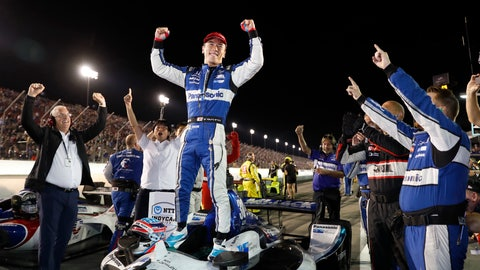<p>               Takuma Sato celebrates after winning the IndyCar auto race at World Wide Technology Raceway on Saturday, Aug. 24, 2019, in Madison, Ill. (AP Photo/Jeff Roberson)             </p>