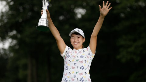 <p>               Japan's Hinako Shibuno reacts as she holds the trophy as she celebrates after winning the Women's British Open golf championship at Woburn Gold Club near near Milton Keynes, England, Sunday, Aug. 4, 2019. (AP Photo/Tim Ireland)             </p>