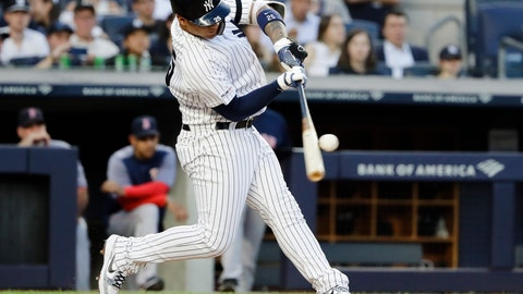 <p>               New York Yankees' Gleyber Torres hits a grand slam during the first inning of the team's baseball game against the Boston Red Sox on Friday, Aug. 2, 2019, in New York. (AP Photo/Frank Franklin II)             </p>