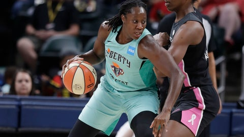 <p>               New York Liberty's Tina Charles (31) is defended by Indiana Fever's Teaira McCowan (15) during the first half of a WNBA basketball game, Tuesday, Aug. 20, 2019, in Indianapolis. (AP Photo/Darron Cummings)             </p>