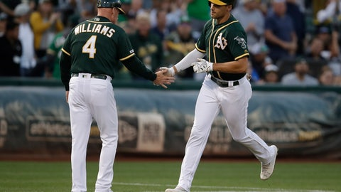 <p>               Oakland Athletics' Matt Olson, right, is congratulated by third base coach Matt Williams after hitting a two-run home run off New York Yankees pitcher Domingo German during the first inning of a baseball game Tuesday, Aug. 20, 2019, in Oakland, Calif. (AP Photo/Ben Margot)             </p>