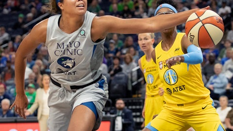 <p>               Minnesota Lynx forward Napheesa Collier keeps the ball from going out of bounds during the first half of the team's WNBA basketball game against the Chicago Sky on Tuesday, Aug. 27, 2019, in Minneapolis. (Carlos Gonzalez/Star Tribune via AP)             </p>
