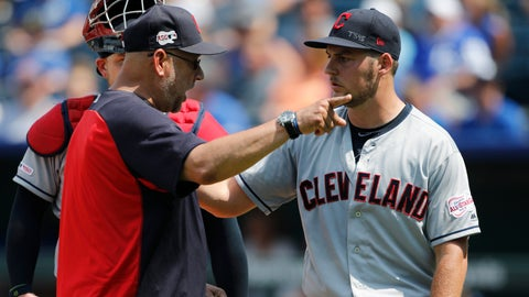<p>               Cleveland Indians manager Terry Francona, left, has words with pitcherTrevor Bauer, right, as Bauer is taken out in the fifth inning of a baseball game against the Kansas City Royals at Kauffman Stadium in Kansas City, Mo., Sunday, July 28, 2019. Bauer threw two baseballs into the stands as he reacted to Royals batter Nicky Lopez's two-RBI single. (AP Photo/Colin E. Braley)             </p>
