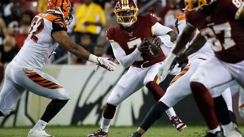 <p>               Cincinnati Bengals defensive end Kerry Wynn (72) comes in to sack Washington Redskins quarterback Dwayne Haskins (7) during the first half of an NFL preseason football game Thursday, Aug. 15, 2019, in Landover, Md. (AP Photo/Alex Brandon)             </p>