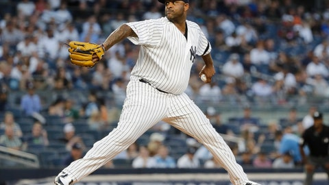 <p>               New York Yankees' CC Sabathia delivers a pitch during the first inning of the team's baseball game against the Oakland Athletics on Friday, Aug. 30, 2019, in New York. (AP Photo/Frank Franklin II)             </p>