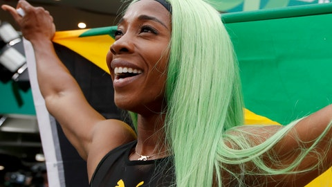 <p>               Shelly-Ann Fraser-Pryce of Jamaica celebrates winning the gold medal in the women's 200m final during the athletics at the Pan American Games in Lima, Peru, Friday, Aug. 9, 2019. (AP Photo/Moises Castillo)             </p>