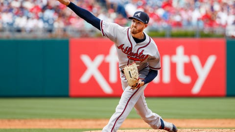 <p>               Atlanta Braves starting pitcher Kevin Gausman throws during the third inning of a baseball game against the Philadelphia Phillies, Sunday, July 28, 2019, in Philadelphia. (AP Photo/Chris Szagola)             </p>
