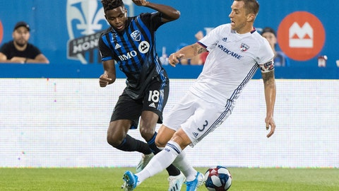 <p>               Montreal Impact's Orji Okwonkwo, left, challenges FC Dallas' Reto Ziegler during first-half MLS soccer match action in Montreal, Saturday, Aug. 17, 2019. (Graham Hughes/The Canadian Press via AP)             </p>