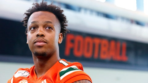<p>               FILE - In this, Tuesday, Aug. 13, 2019, file photo, Miami quarterback Jarren Williams waits to speak to members of the media during the team's Media Day in Coral Gables, Fla. Williams will make his first career start Saturday when Miami takes on Florida. (AP Photo/Wilfredo Lee, File)             </p>