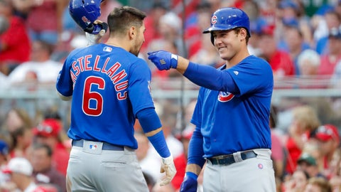 <p>               Chicago Cubs' Nicholas Castellanos (6) celebrates with Anthony Rizzo, right, after hitting a solo home run off Cincinnati Reds starting pitcher Alex Wood during the third inning of a baseball game Thursday, Aug. 8, 2019, in Cincinnati. (AP Photo/John Minchillo)             </p>