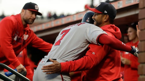 <p>               Washington Nationals' Trea Turner (7) is congratulated after hitting a home run against the San Francisco Giants during the fifth inning of a baseball game Tuesday, Aug. 6, 2019, in San Francisco. (AP Photo/Ben Margot)             </p>