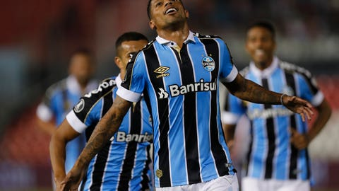 <p>               Andre Ribeiro of Brazil's Gremio celebrates after scoring against Paraguay's Libertad during a Copa Libertadores soccer game in Asuncion, Paraguay, Thursday, Aug. 1, 2019. (AP Photo/Jorge Saenz)             </p>