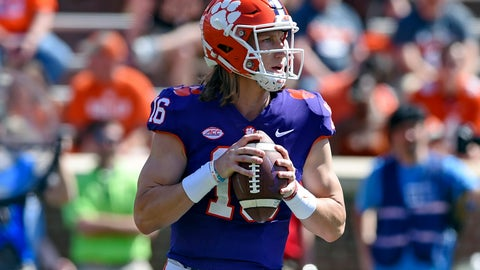 <p>               FILE - In this April 6, 2019, file photo, Clemson's Trevor Lawrence drops back to pass during Clemson's annual Orange and White NCAA college football spring scrimmage in Clemson, S.C. After leading Clemson to a national championship as a freshman, Lawrence was selected an AP preseason All-American by poll voters. (AP Photo/Richard Shiro, File)             </p>
