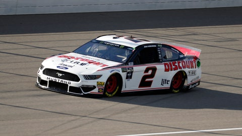 <p>               Brad Keselowski qualifies for a NASCAR Cup Series auto race at Michigan International Speedway in Brooklyn, Mich., Friday, Aug. 9, 2019. Keselowski won the pole position. (AP Photo/Paul Sancya)             </p>