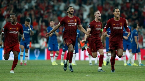 <p>               Liverpool teammates celebrate after winning the UEFA Super Cup soccer match between Liverpool and Chelsea, in Besiktas Park, in Istanbul, Wednesday, Aug. 14, 2019.(AP Photo/Lefteris Pitarakis)             </p>