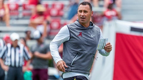 <p>               Alabama offensive coordinator Steve Sarkisian works his payers through drills during an NCAA college fall camp fan-day college football scrimmage, Saturday, Aug. 3, 2019, at Bryant-Denny Stadium in Tuscaloosa, Ala. (AP Photo/Vasha Hunt)             </p>