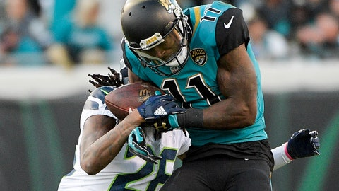 <p>               FILE - In this Dec. 10, 2017, file photo, Jacksonville Jaguars wide receiver Marqise Lee (11) makes a reception in front of Seattle Seahawks cornerback Shaquill Griffin during the first half of an NFL football game in Jacksonville, Fla. Lee is practicing for the first time since tearing three ligaments in his left knee last preseason. (AP Photo/Phelan M. Ebenhack, File)             </p>