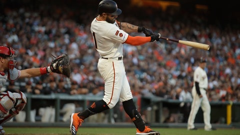 <p>               San Francisco Giants' Kevin Pillar swings for an RBI triple off Philadelphia Phillies' Nick Pivetta in the eighth inning of a baseball game Sunday, Aug. 11, 2019, in San Francisco. (AP Photo/Ben Margot)             </p>