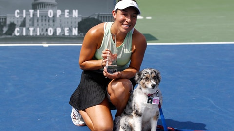 <p>               Jessica Pegula poses with a trophy and her dog Maddie after defeating Camila Giorgi, of Italy, in a final match at the Citi Open tennis tournament, Sunday, Aug. 4, 2019, in Washington. (AP Photo/Patrick Semansky)             </p>