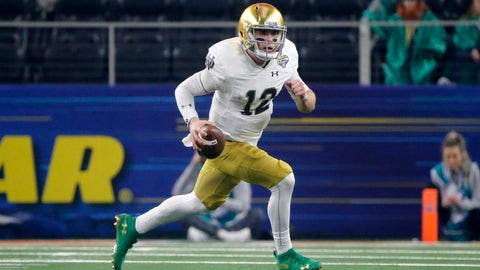 <p>               FILE - In this Dec. 29, 2018, file photo, Notre Dame quarterback Ian Book (12) runs the ball against Clemson during the NCAA Cotton Bowl semifinal playoff football game, in Arlington, Texas. Upon his return to campus last winter, Book immediately worked on his leadership skills and also making the difficult and tight downfield passes. Book was rewarded when he was named one of the team's seven captains. (AP Photo/Michael Ainsworth, File)             </p>