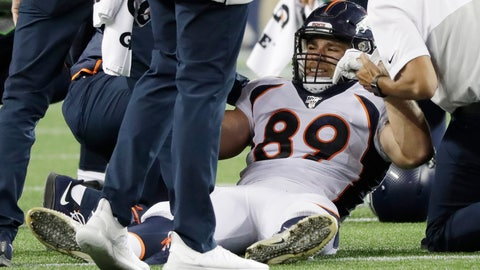 <p>               Denver Broncos tight end Austin Fort is helped up after an injury on a reception during the second half of the team's NFL football preseason game against the Seattle Seahawks, Thursday, Aug. 8, 2019, in Seattle. (AP Photo/Elaine Thompson)             </p>