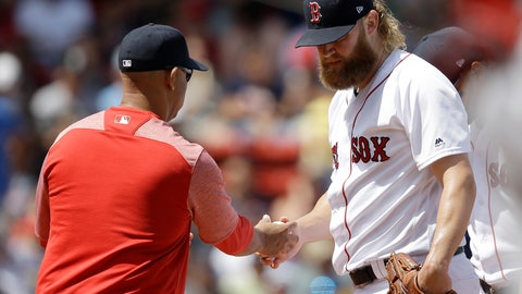 <p>               Boston Red Sox's Andrew Cashner, right, hands the ball to manager Alex Cora, left, as he is retired from a baseball game in the second inning against the Los Angeles Angels at Fenway Park, Sunday, Aug. 11, 2019, in Boston. (AP Photo/Steven Senne)             </p>