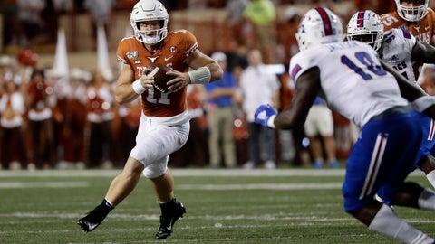 <p>               Texas quarterback Sam Ehlinger (11) runs against Louisiana Tech during the first half of an NCAA college football game, Saturday, Aug. 31, 2019, in Austin, Texas. (AP Photo/Eric Gay)             </p>