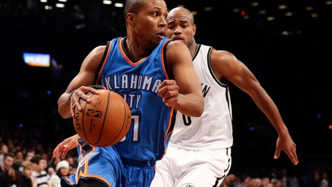 <p>               FILE - In this Nov. 3, 2014, file photo, Oklahoma City Thunder guard Sebastian Telfair, front, dribbles past Brooklyn Nets guard Jarrett Jack (0) in the first half of an NBA basketball game in New York. Former NBA player Telfair has been sentenced to 3 1/2 years in prison in a New York City gun case. Brooklyn District Attorney Eric Gonzalez said on Monday, Aug. 12, 2019, that Telfair received the term for his conviction in April on a gun-possession charge. (AP Photo/John Minchillo, File)             </p>