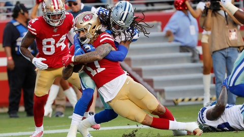 <p>               San Francisco 49ers wide receiver Jalen Hurd (17) scores against Dallas Cowboys cornerback Donovan Olumba during the first half of an NFL preseason football game in Santa Clara, Calif., Saturday, Aug. 10, 2019. (AP Photo/Josie Lepe)             </p>