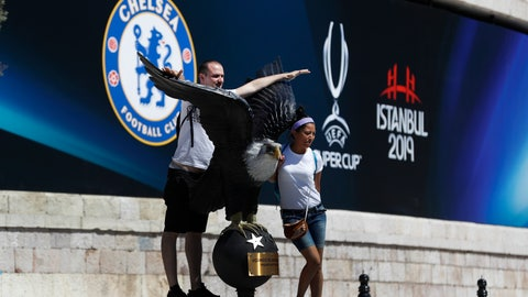 <p>               Tourists pose for photos outside Besiktas Park in Istanbul, Sunday, Aug.11, 2019, where the UEFA Super Cup soccer match between Liverpool and Chelsea will be played on Wednesday, Aug. 14. (AP Photo/Lefteris Pitarakis)             </p>