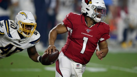 <p>               Arizona Cardinals quarterback Kyler Murray (1) tries to elude Los Angeles Chargers linebacker Chris Peace (40) during the first half of an NFL preseason football game, Thursday, Aug. 8, 2019, in Glendale, Ariz. (AP Photo/Ross D. Franklin)             </p>