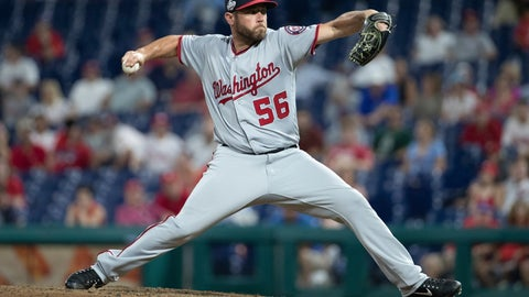 <p>               FILE - In this Aug. 28, 2018, file photo, Washington Nationals relief pitcher Greg Holland throws a pitch during the ninth inning of a baseball game against the Philadelphia Phillies, in Philadelphia. A person familiar with the deal tells The Associated Press that right-handed reliever Greg Holland and the Washington Nationals have an agreement in principle on a minor league contract, pending the completion of a successful physical exam. The person confirmed the move to the AP on condition of anonymity Tuesday, Aug. 13, 2019, because nothing had been announced by the team.(AP Photo/Chris Szagola, File)             </p>