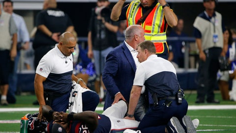 <p>               Houston Texans staff check on running back Lamar Miller (26) after he suffered an unknown injury in the first half of a preseason NFL football game against the Dallas Cowboys in Arlington, Texas, Saturday, Aug. 24, 2019. (AP Photo/Michael Ainsworth)             </p>